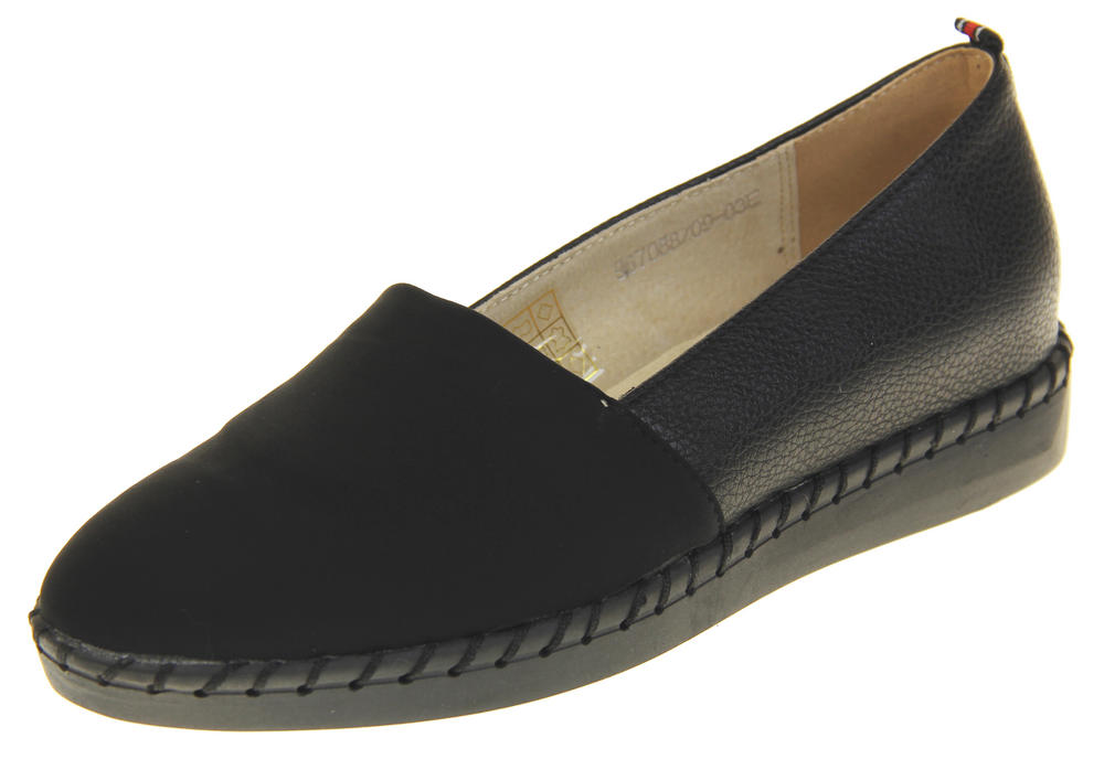 Womens Ladies Betsy Leather Espadrille Slip On Pumps