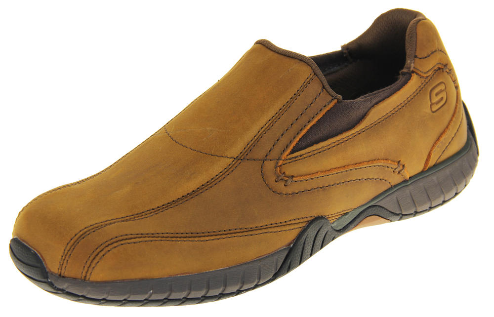 Mens Skechers Brown Quality Leather Memory Foam Loafer Trainers