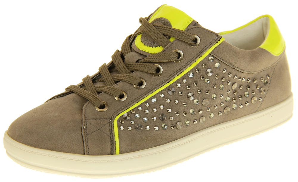 Womens Ladies Keddo Leather Stud Design Lace Up Diamante Trainers