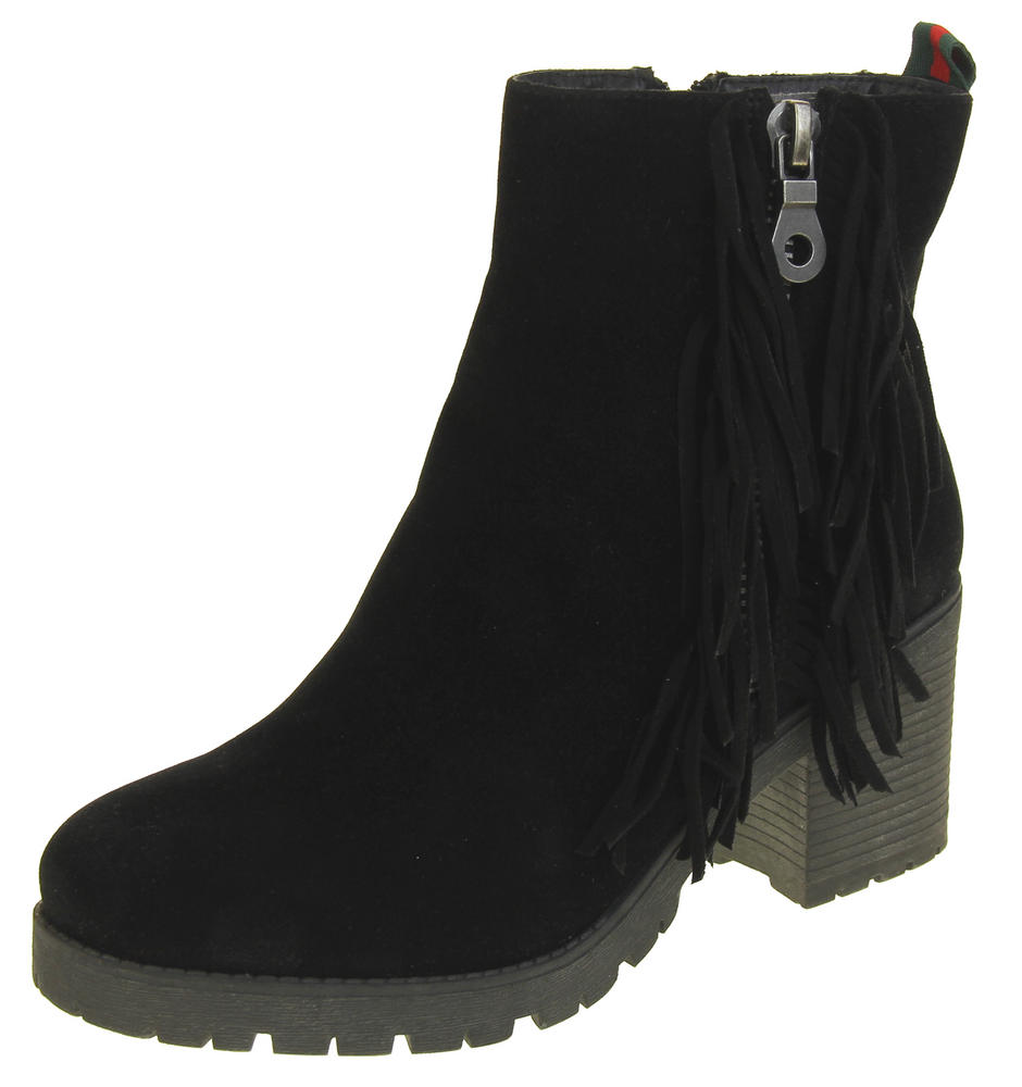 Womens Ladies Keddo Synthetic Suede Zip Fastening Tassel Design Ankle Boots
