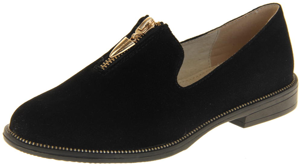 Womens Ladies Keddo Flat Zip Fastening Leather Synthetic Suede Loafers