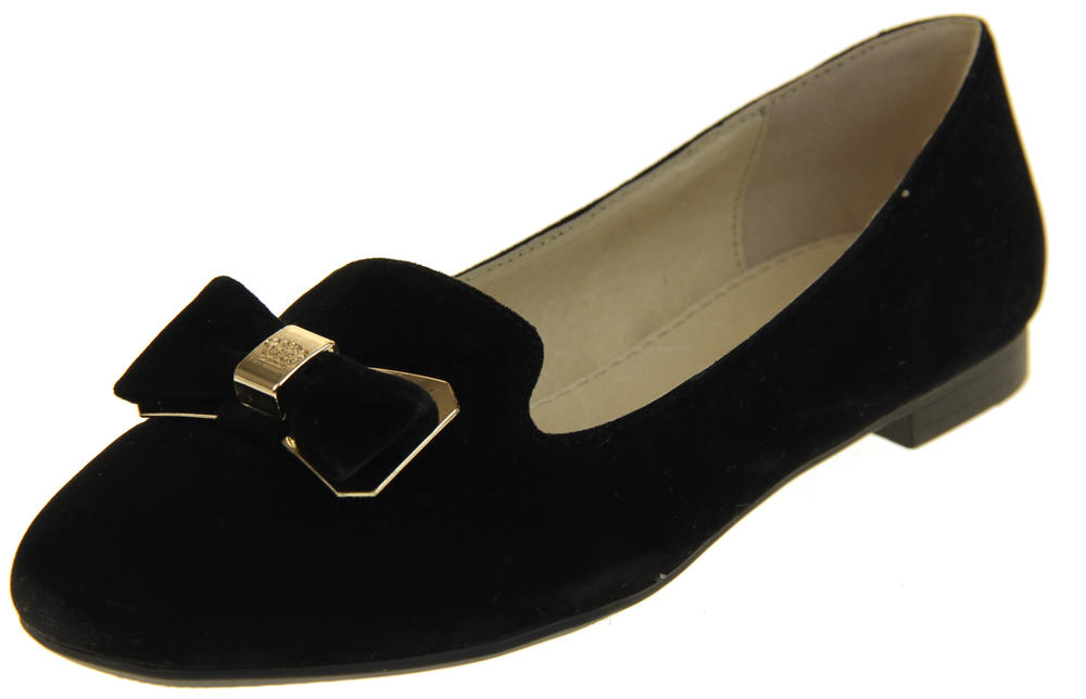 Womens Ladies Keddo Leather Flat Black Smart Loafers Work Ballerinas