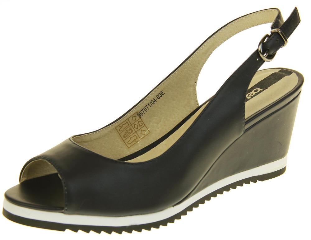 Womens Ladies Betsy Leather High Heel Peep-Toe Wedged Buckle Fastening Sandals