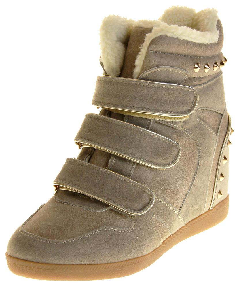 Womens Ladies Thick Faux Fur Lined Stud Design Hook & Loop Hidden Heel Wedge Ankle Boots
