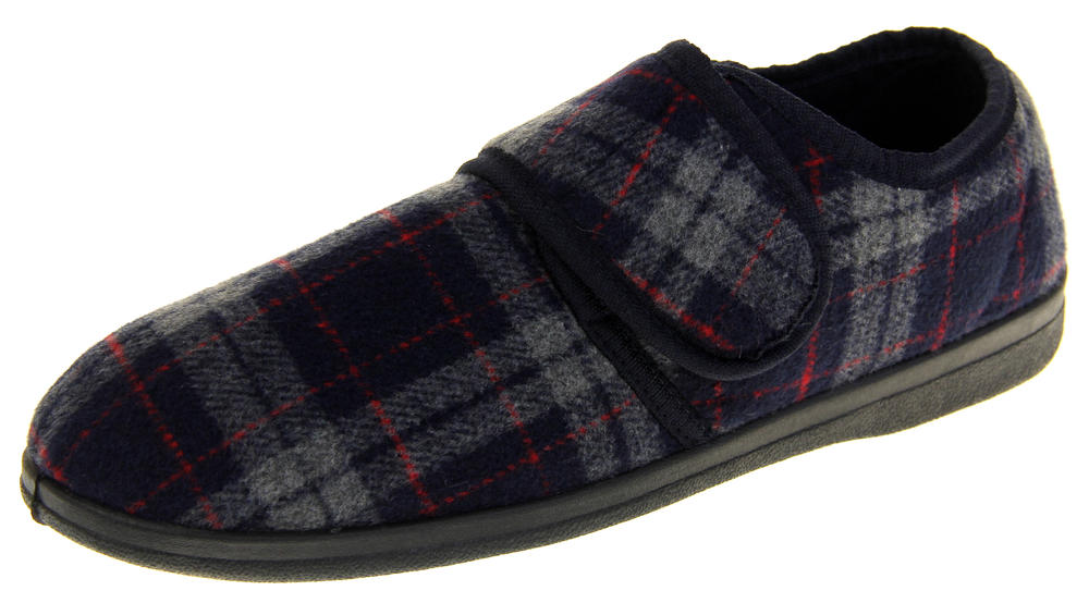 Mens Coolers Checkered Design Touch Fastening Winter Slippers
