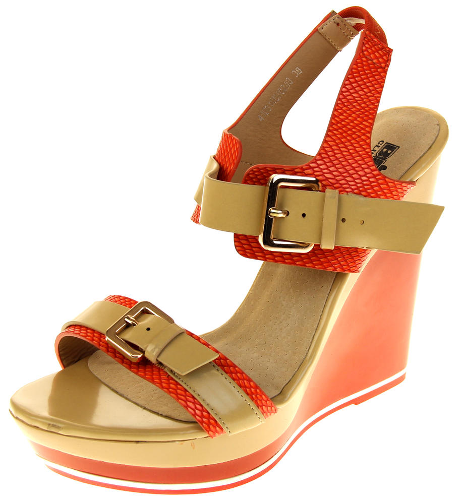Womens Ladies Betsy High Heel Wedged Heeled Sandals