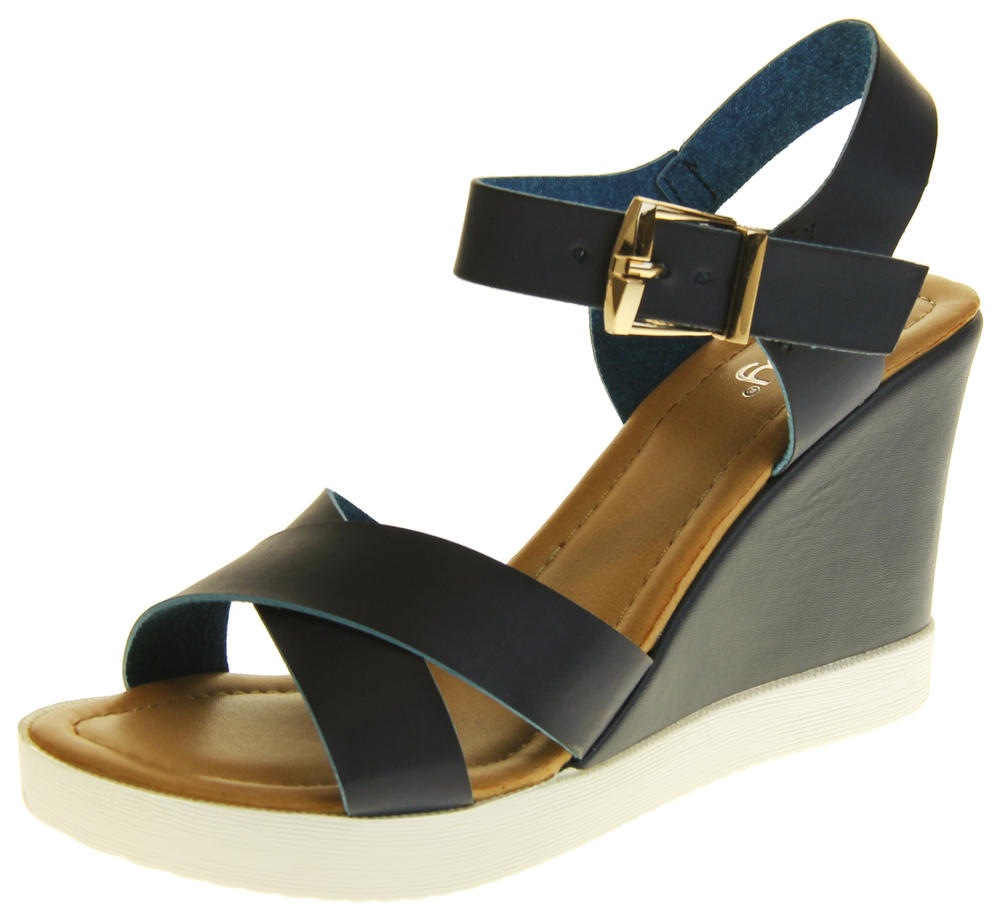 Womens Ladies Betsy Faux Leather Peep-Toe Wedge High Heel Strappy Sandals
