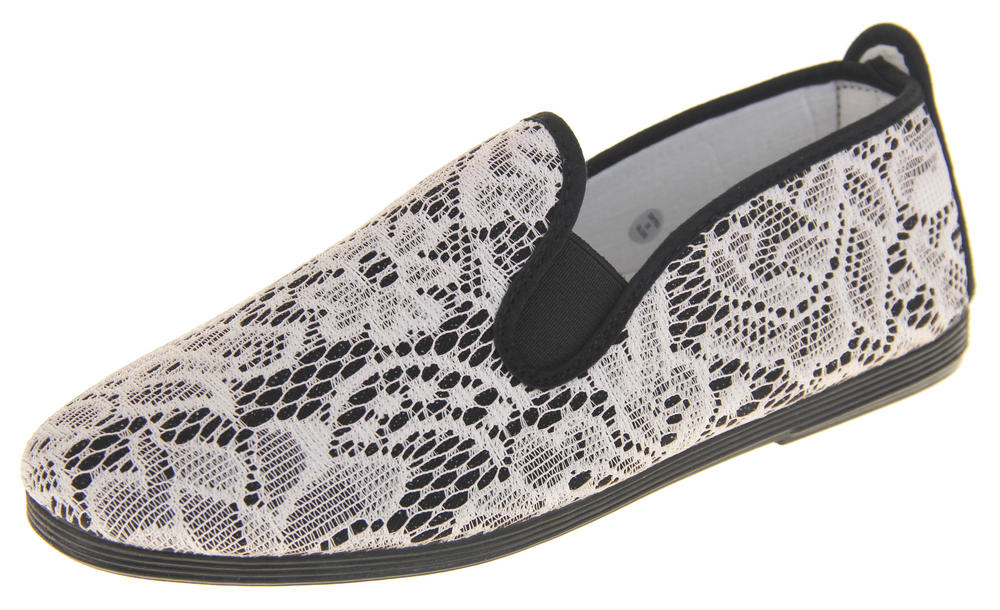 Womens Ladies Flossy Casual Canvas Espadrille Pumps