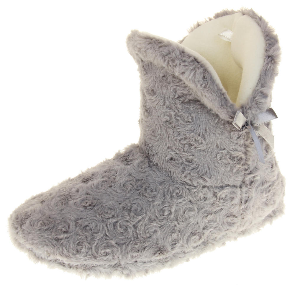 Womens Ladies Fleece Lined Bow Design Warm Soft Faux Fur Cosy Comfort Boot Bootie Slippers