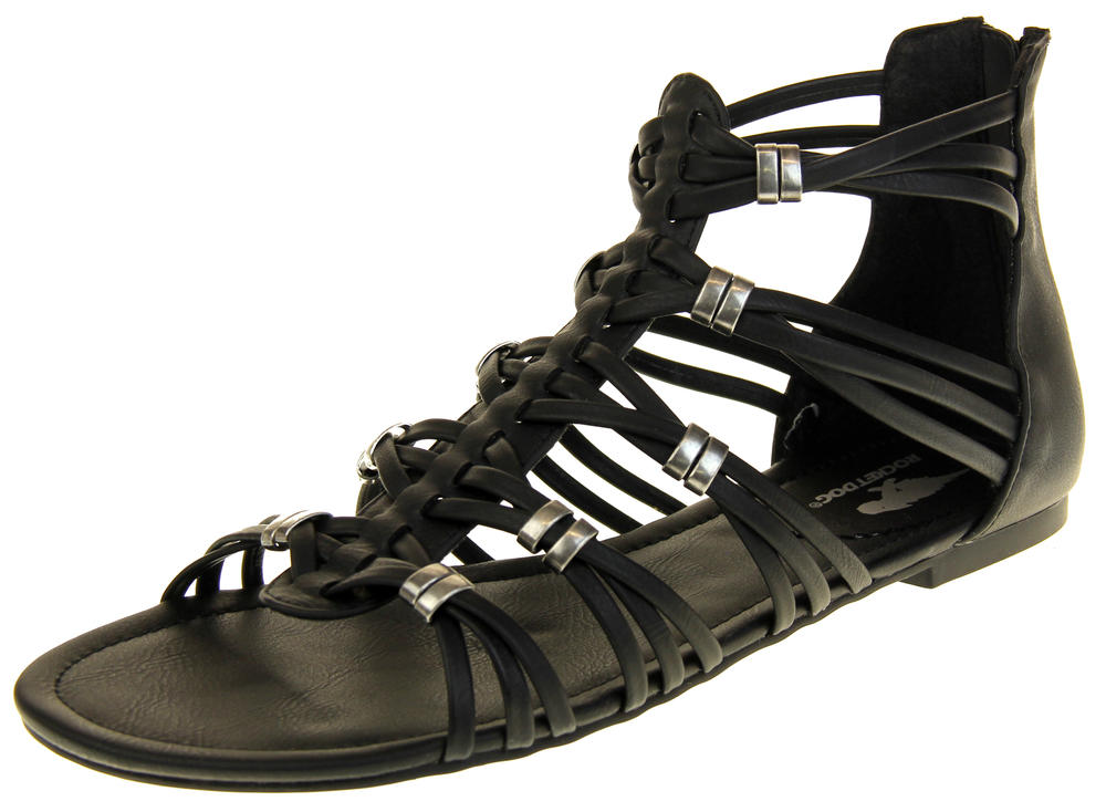 Womens Ladies Rocket Dog Black Gladiators Faux Leather Open Toe Strappy Sandals