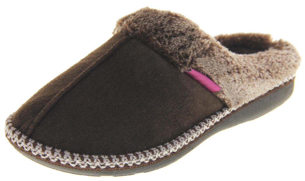 Womens Ladies Dunlop Winter Synthetic Fur Warm Comfort Mule Slippers