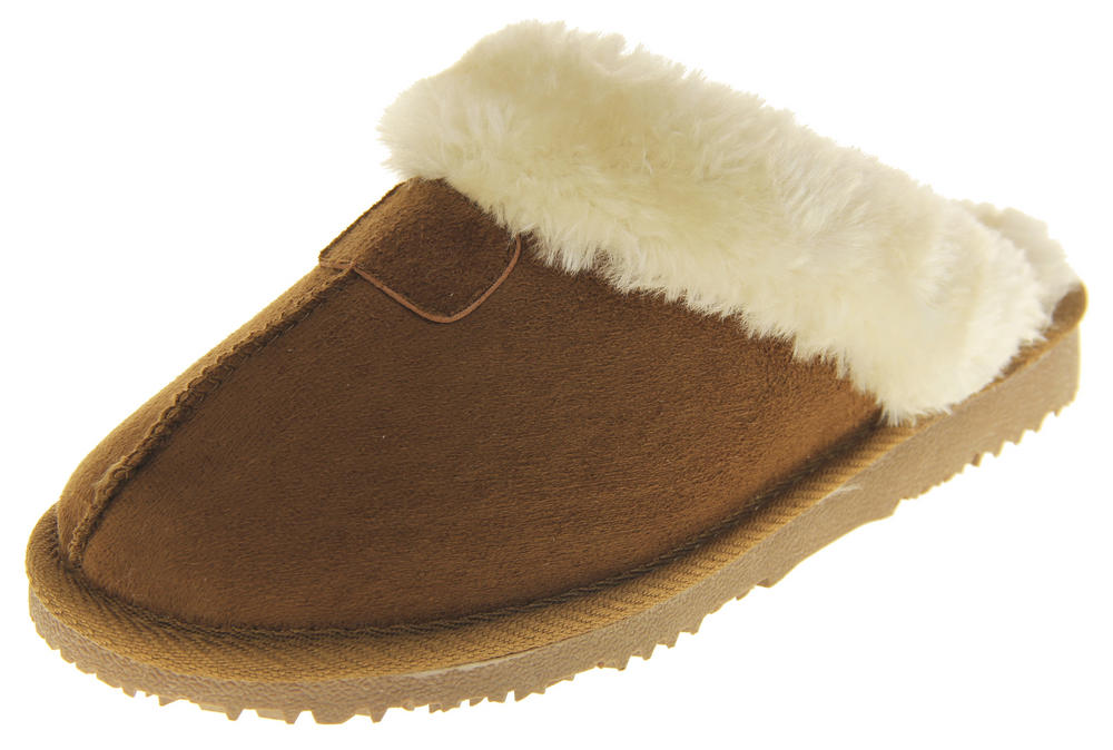 Womens Ladies Ella Winter Synthetic Fur Warm Comfort Mule Slippers