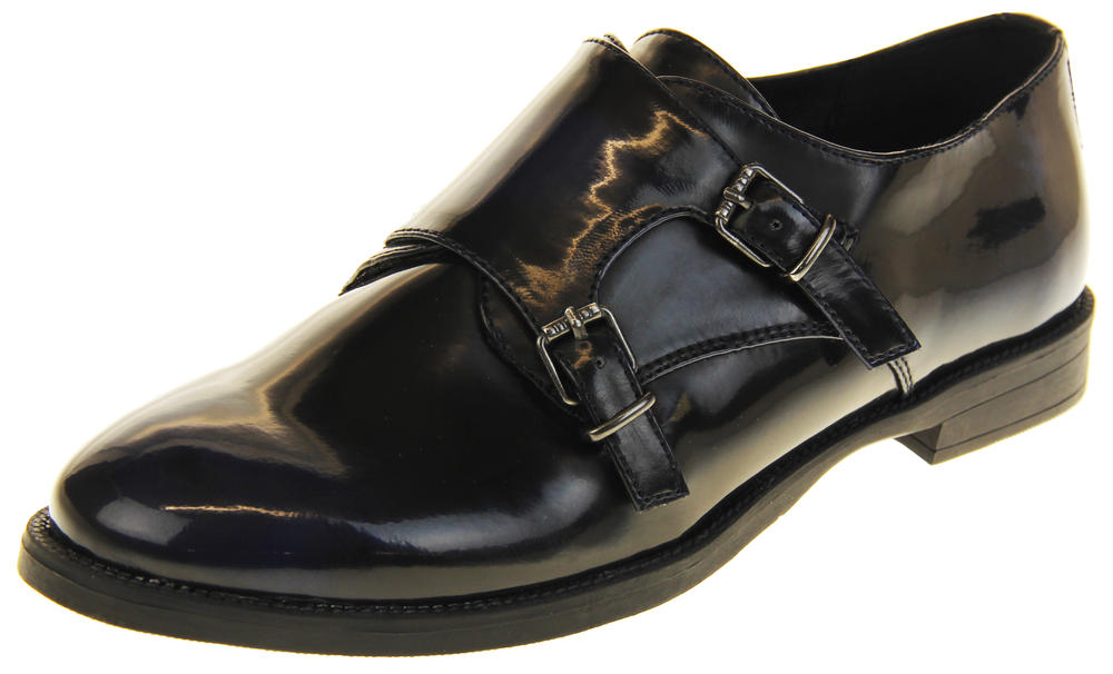Womens Ladies Keddo Leather Double Buckle Formal Office Work Monk Shoes
