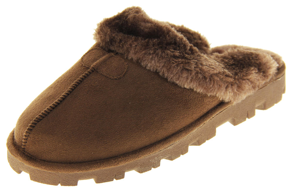womens Ladies Winter Synthetic Fur Warm Comfort Mule Slippers