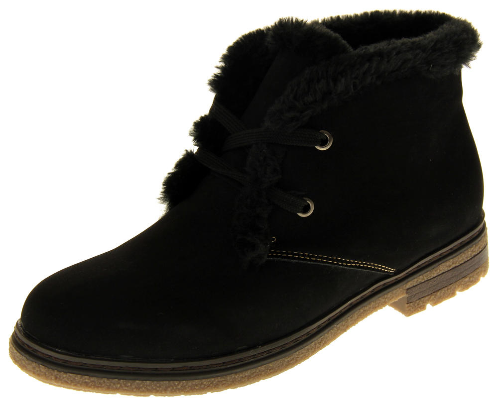 Womens Ladies Faux Nubuck Synthetic Fur Lined Lace Up Ankle Boots