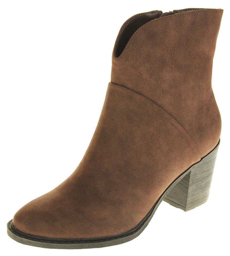 Womens Ladies Betsy Faux Leather Block Heel Inner Zip Ankle Boots