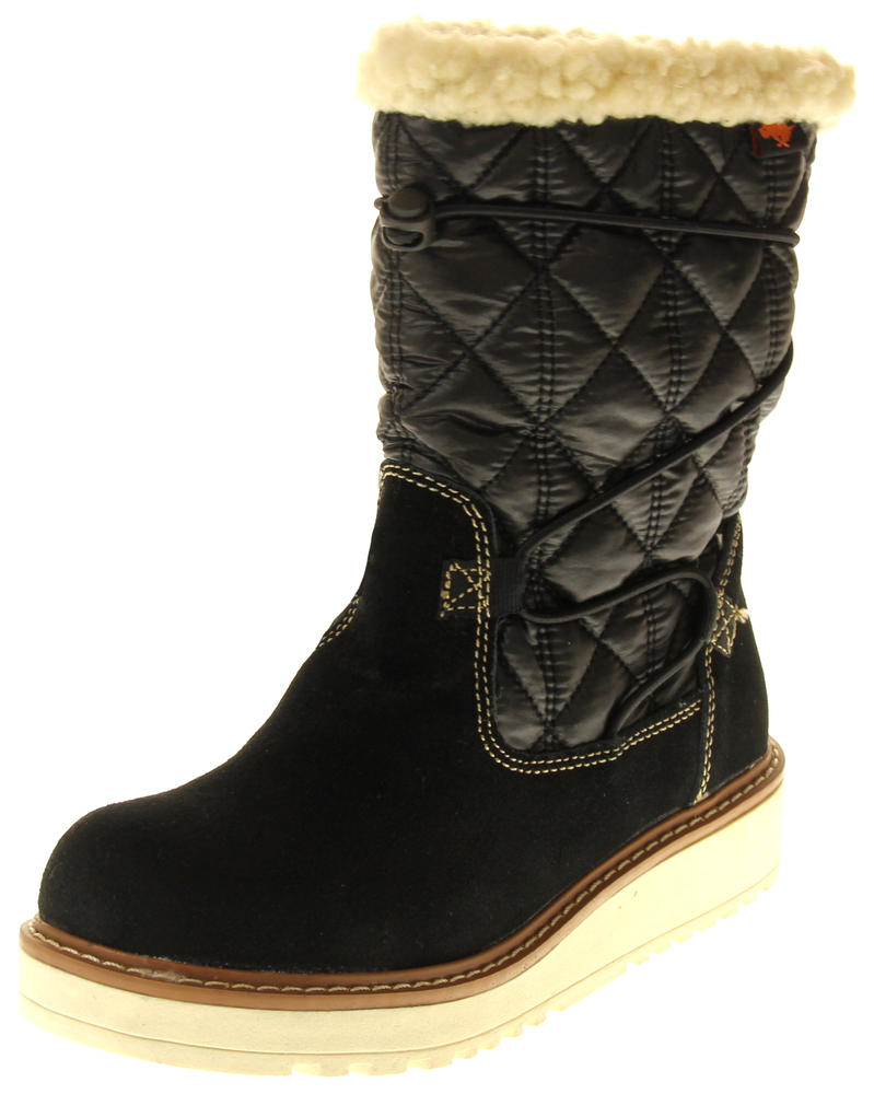 Womens Ladies Rocket Dog Leather Faux Fur Lined Mid Calf Elasticated Boots