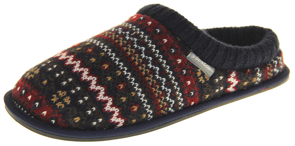 Mens Dunlop Memory Foam Comfy Warm Fleece Mule Slippers