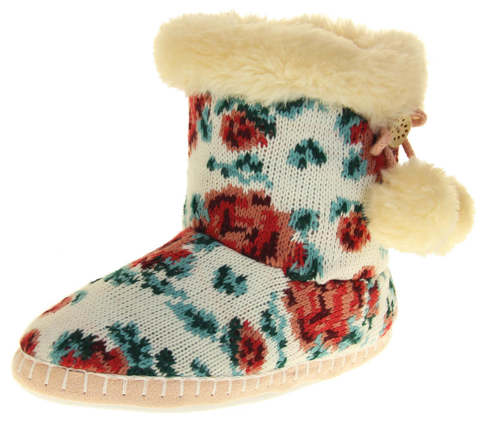 Womens Ladies Fleece Lined Pom Pom Warm Soft Faux Fur Cosy Comfort Slipper Boot Bootie