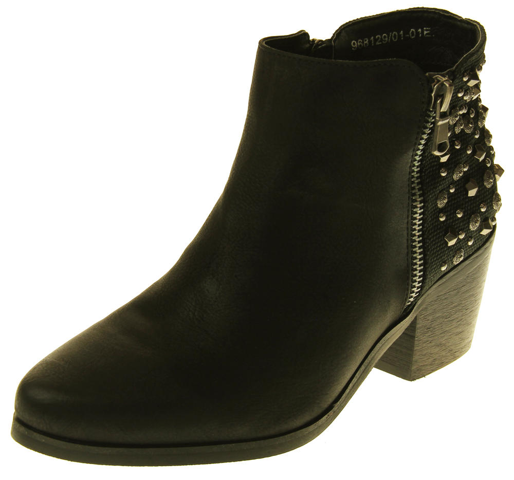 Womens Synthetic Leather Zip Fastening Stud Design Ankle Boots