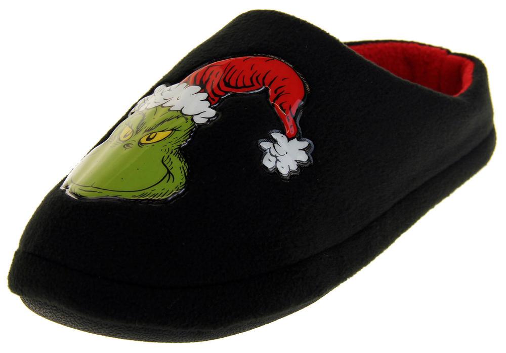 Mens Boys The Grinch Warm Fleece Novelty Mule Slippers