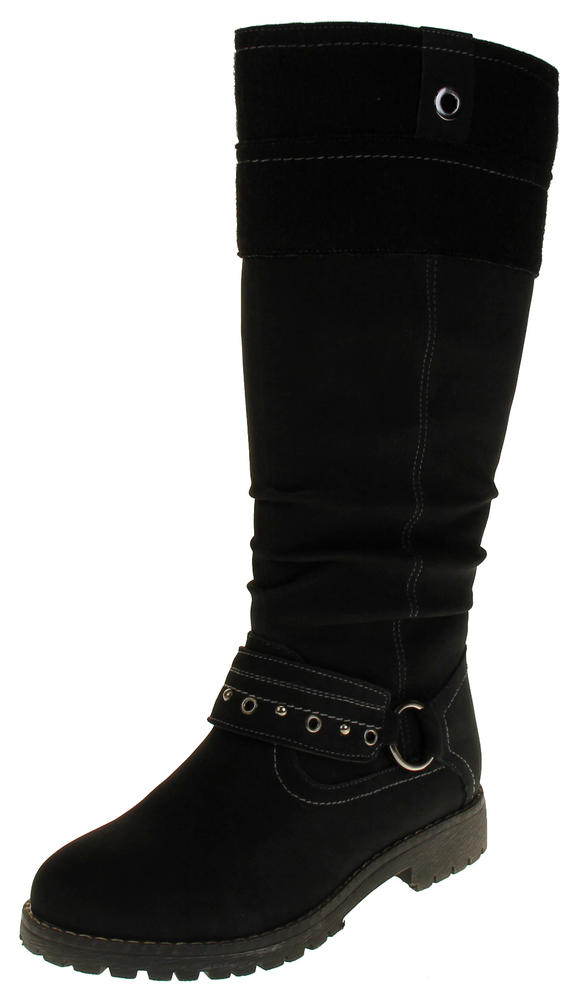 Womens 878138/01 Faux Leather Wool Lined Boots