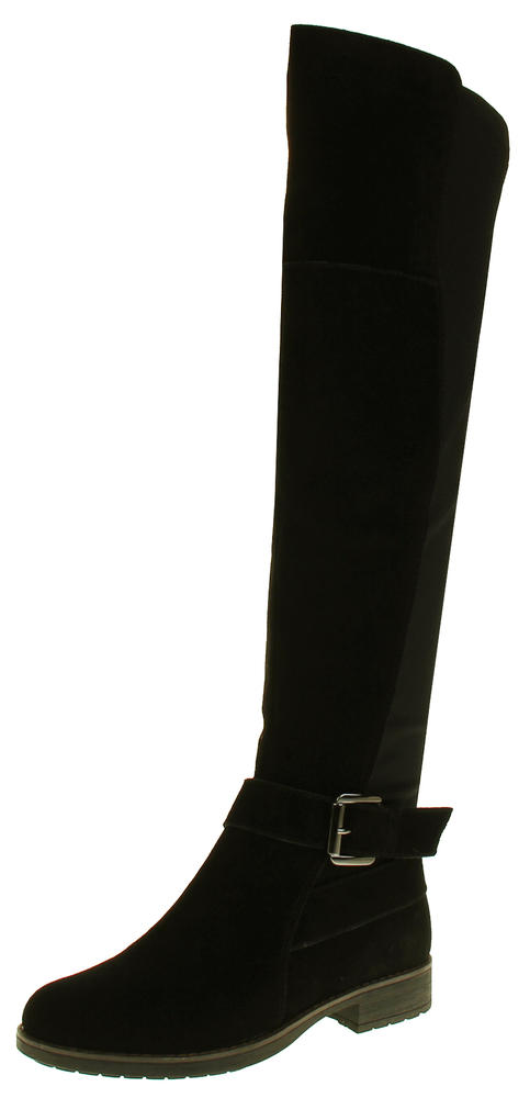 Womens Ladies Genuine Suede Tall Warm Above The Knee Boots With Zip