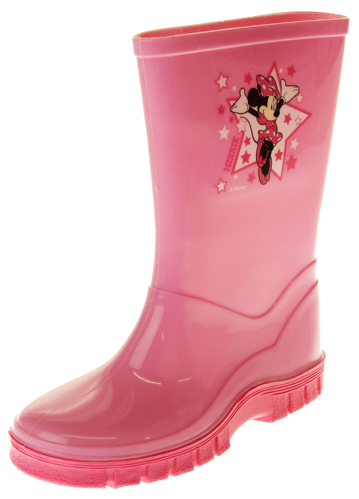 Girls Disney Minnie Mouse Waterproof Comfy Pink Wellies Wellington Boots