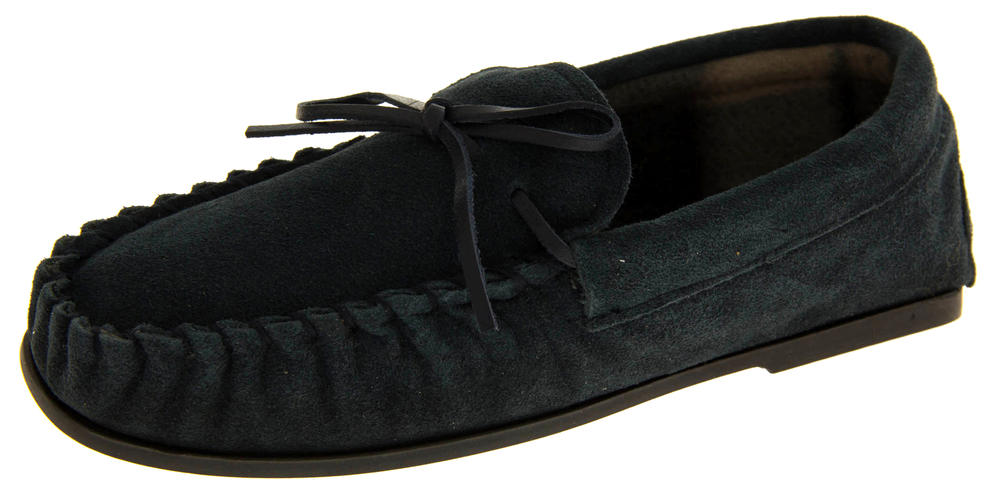 LodgeMok Mens Genuine Suede Moccasin Slippers