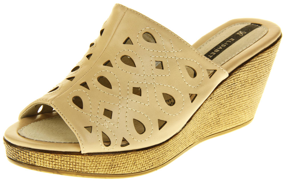 Womens Elisabeth Wedged Sandals Summer Shoes