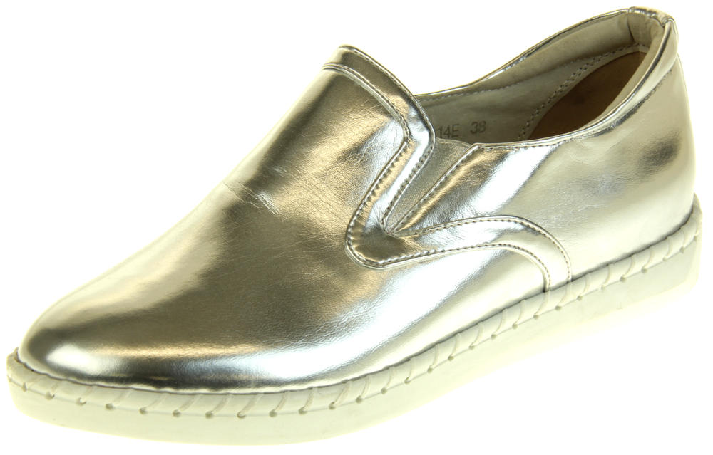 Womens Ladies Betsy Silver Leather Loafer Pumps
