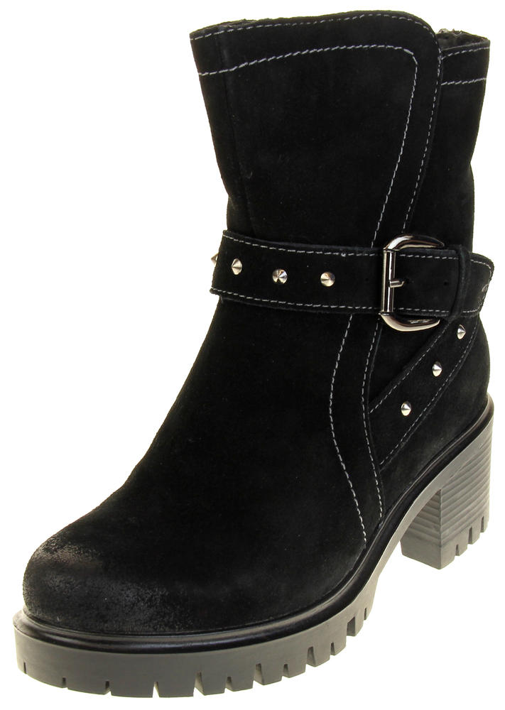 Womens Ladies Betsy Synthetic Suede Heeled Ankle Boots