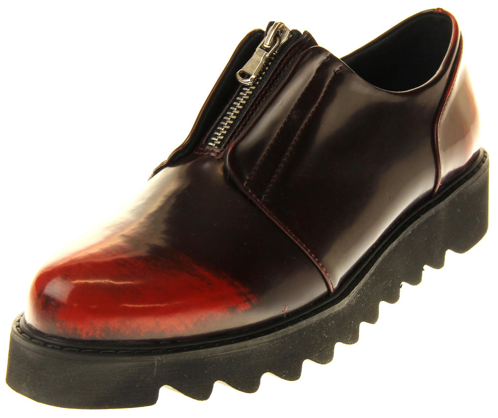 Womens Ladies Betsy Synthetic Leather Bordeaux Zipper Loafers