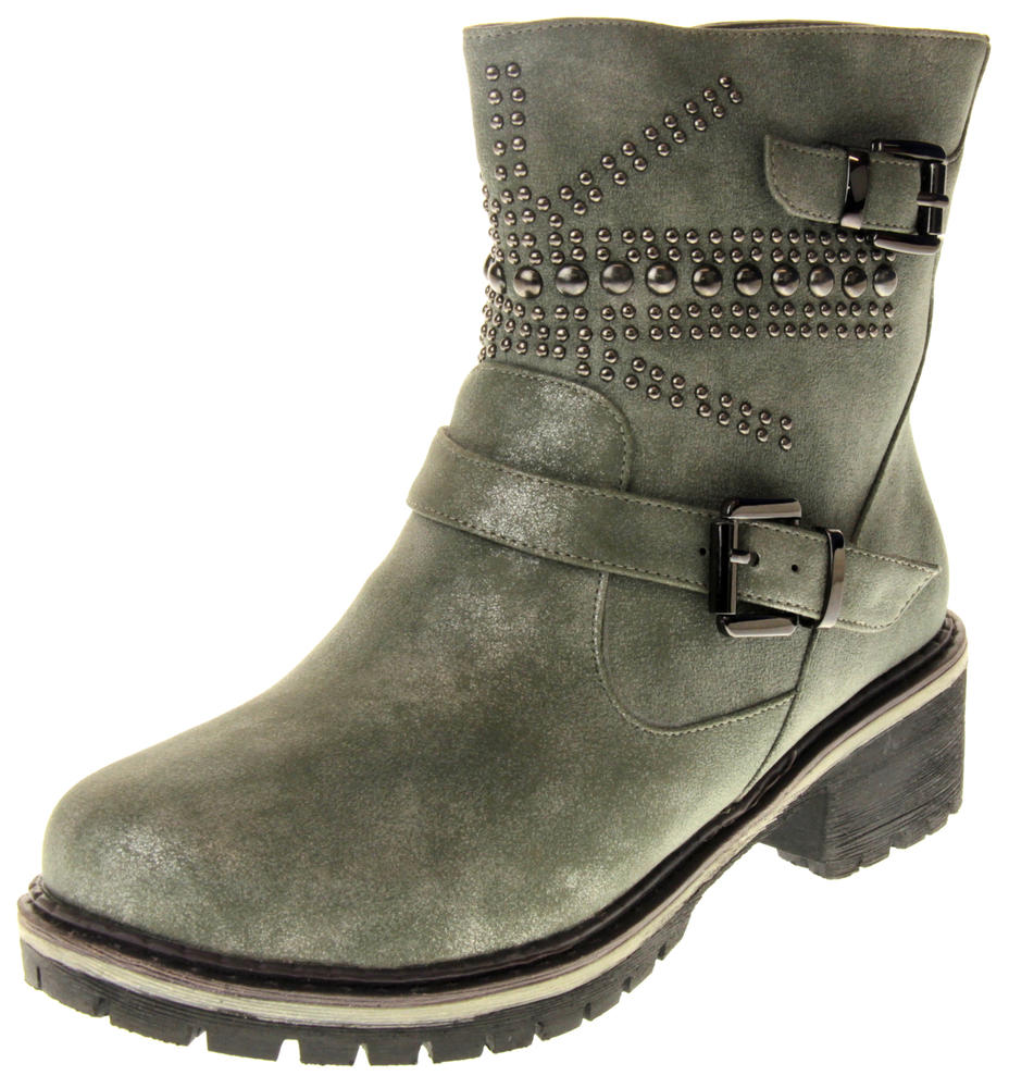 Womens Ladies Betsy Faux Leather Decorative Studs Faux Fur Lining Winter Ankle Boots Size 3 4 5 6 7 8