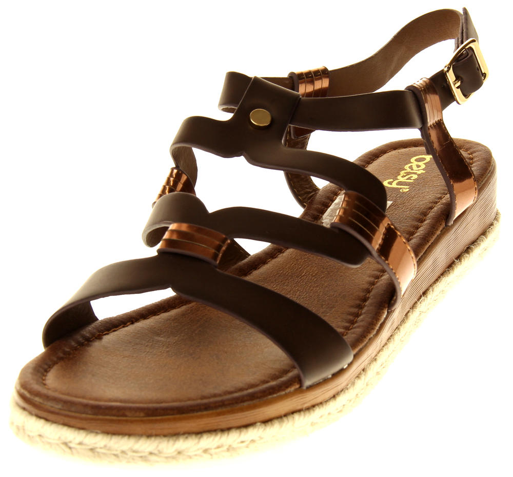 Womens Ladies Betsy Brown Faux Leather Flat Sandals