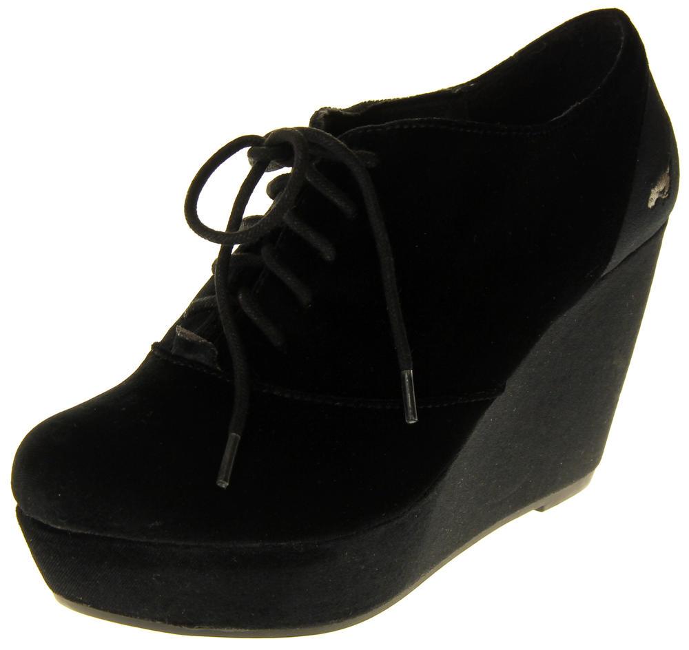 Womens Ladies Rocket Dog Black Faux Leather Platform Wedged Shoes
