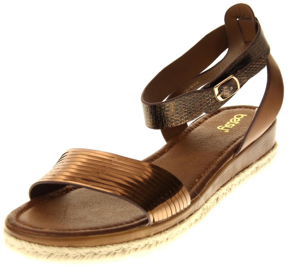 Womens Ladies Keddo Bronze Faux Leather Gladiator Sandals