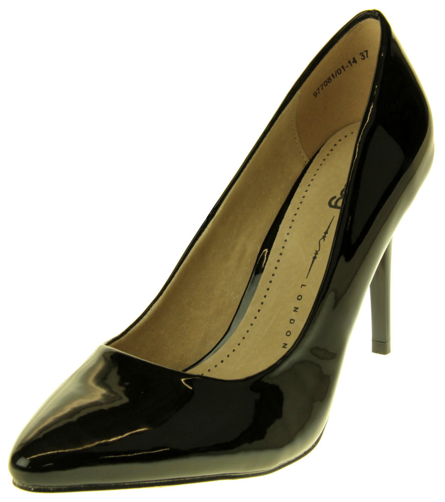 Womens Ladies Betys Black Faux Patent Leather Shiny High Heel Stillettos