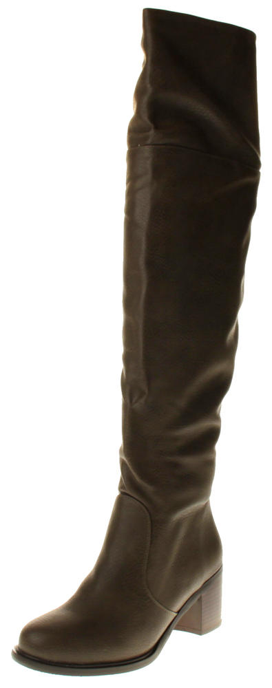 Womens Ladies Elisabeth Synthetic Leather Knee High Boots