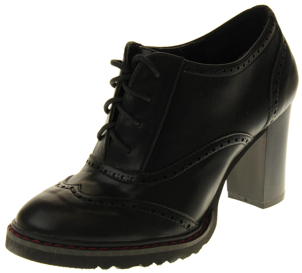 Womens Ladies Betsy Black Faux Leather Brogue Style Block Heel Ankle Boots