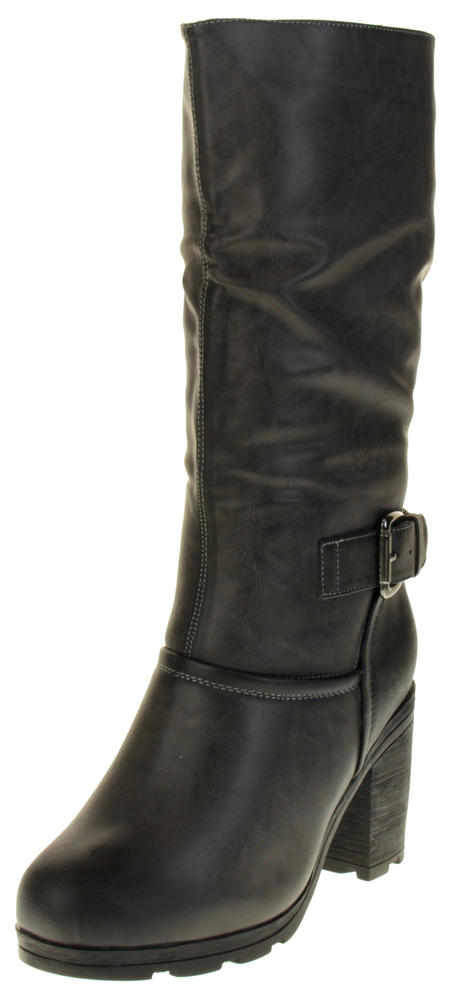 Womens Ladies Betsy Faux Leather Mid Calf Boots