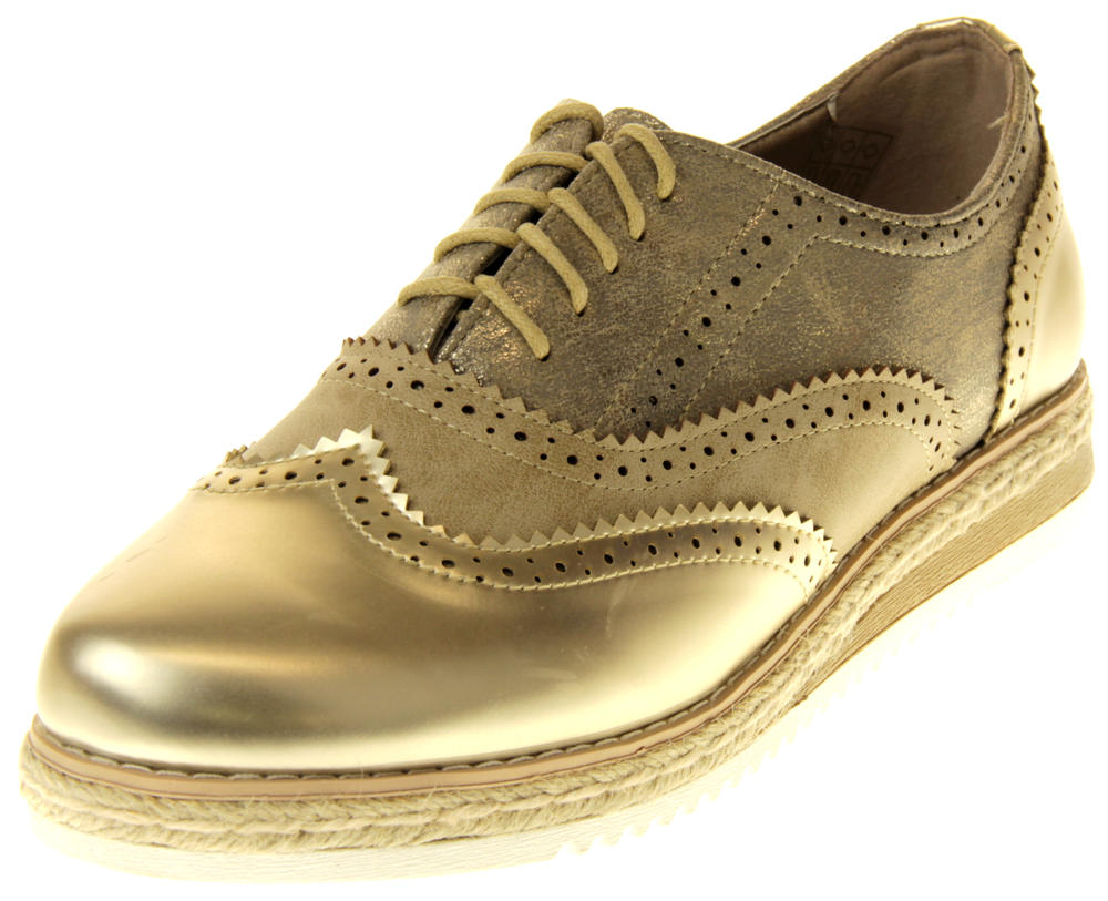 Womens Ladies Betsy Gold Faux Leather Brogue Style Loafers