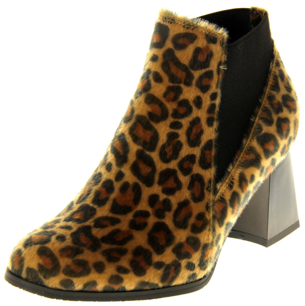Womens Ladies Betsy Leopard Print Block Heeled Ankle Boots