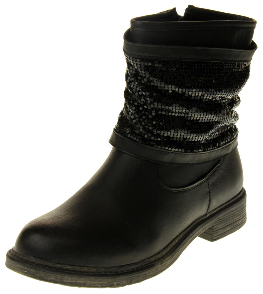 Womens Ladies Keddo Faux Leather Ankle Boots