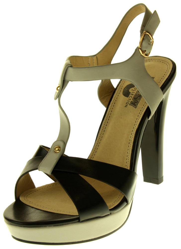 Womens Ladies Betsy Faux Leather High Heeled Sandals