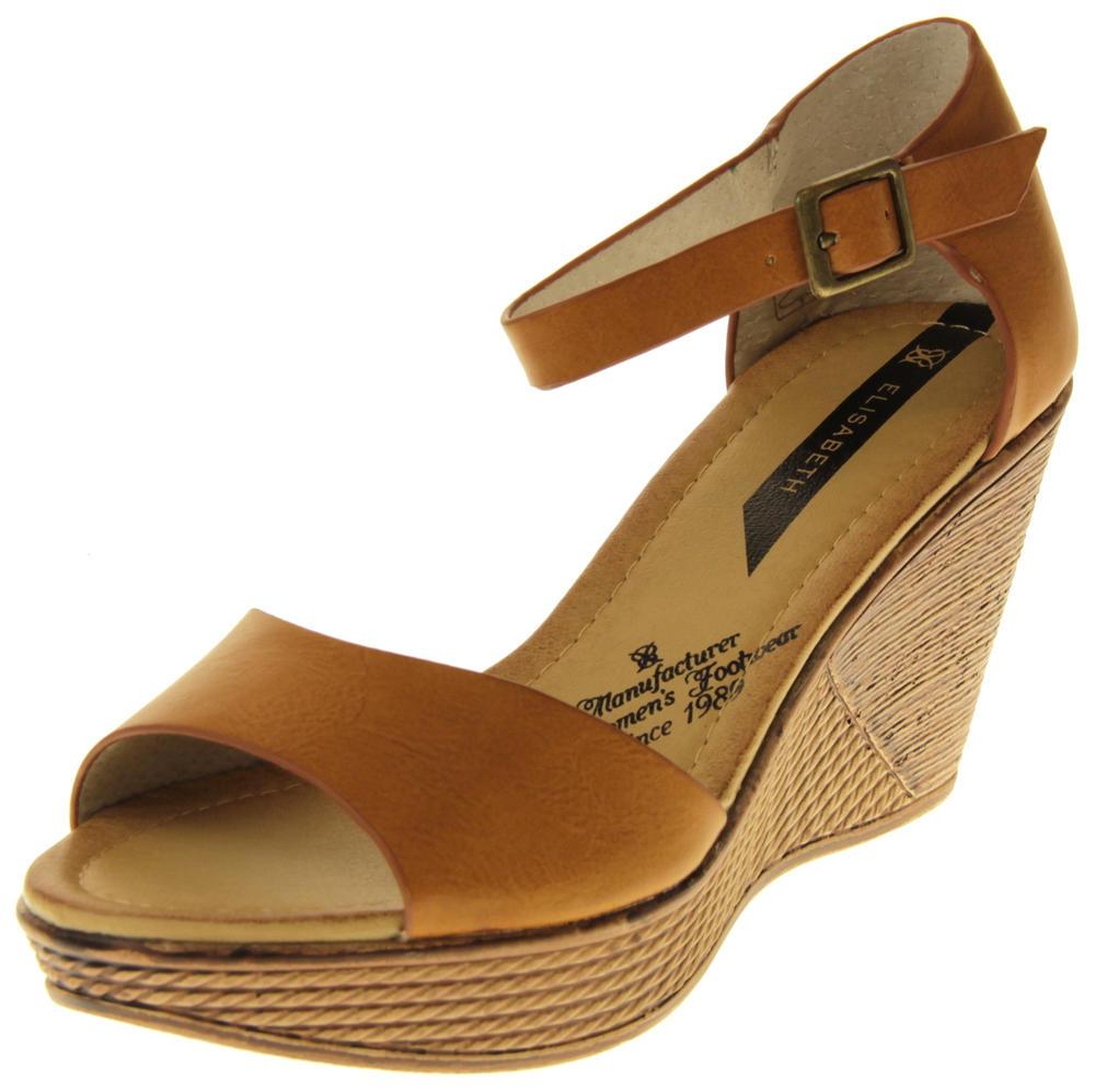 Womens Ladies Elisabeth Buckle Closure Wedged Summer Sandals