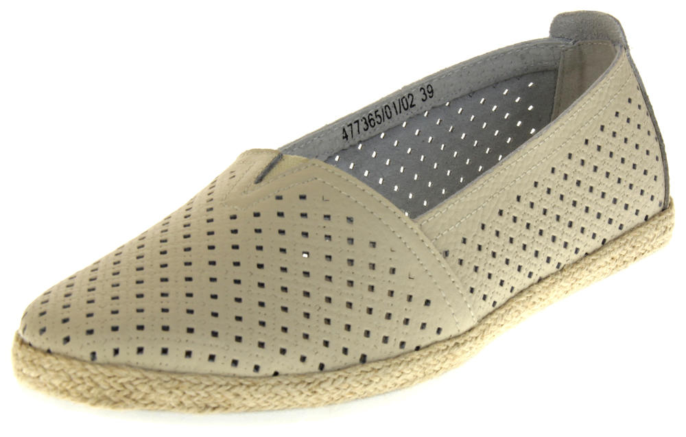 Womens Ladies Crosby Leather Flat Espadrilles