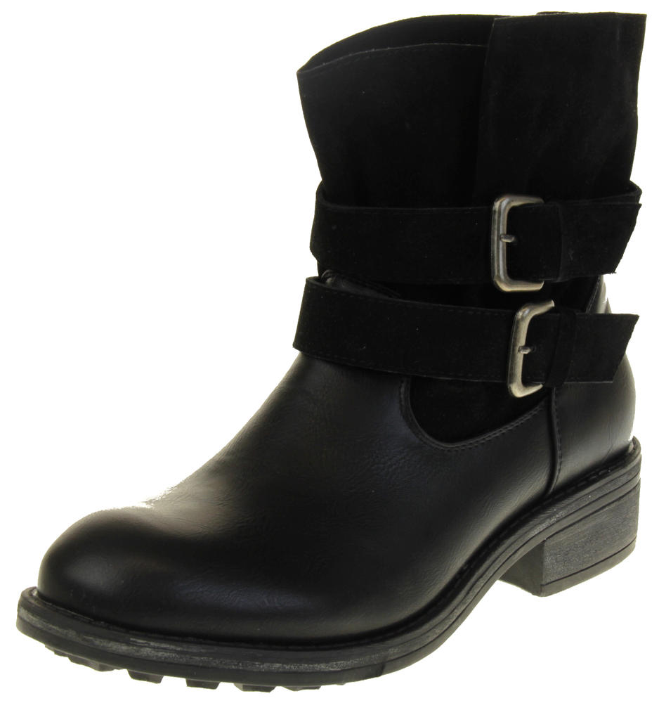 Womens Ladies Betsy Black Faux Leather Ankle Boots