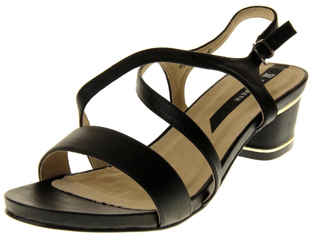 Womens Ladies Elisabeth Faux Leather Low Block Heel Sandals