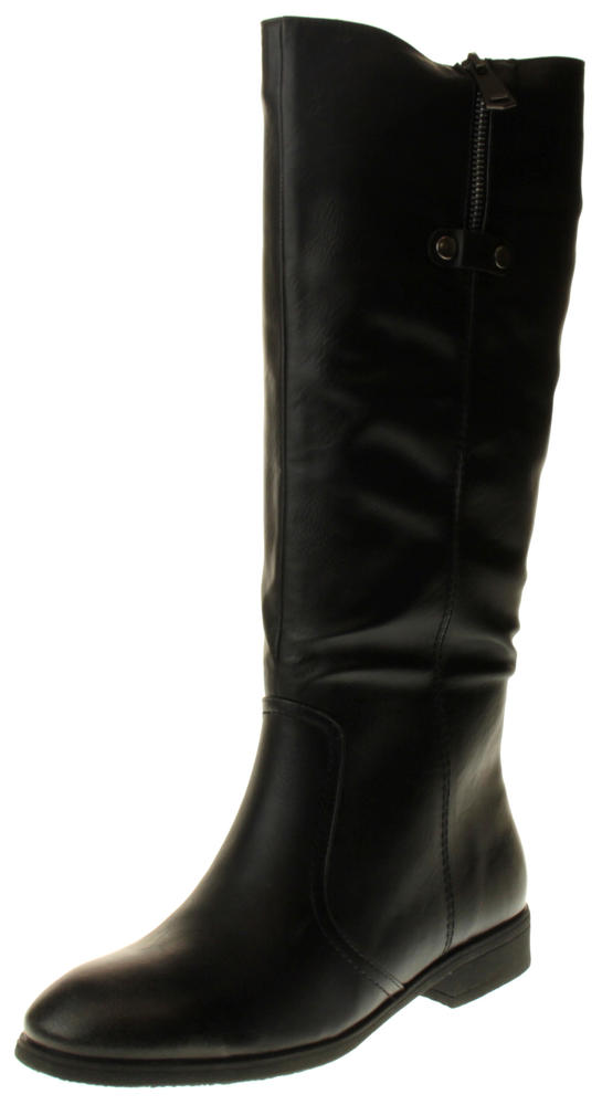 Womens Ladies  Black Faux Leather Knee High Boots
